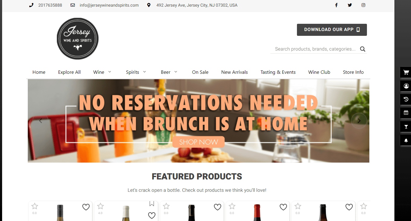 Jersey Wine and Spirits' Homepage